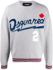 DSQUARED2 logo-jacquard crew neck jumper