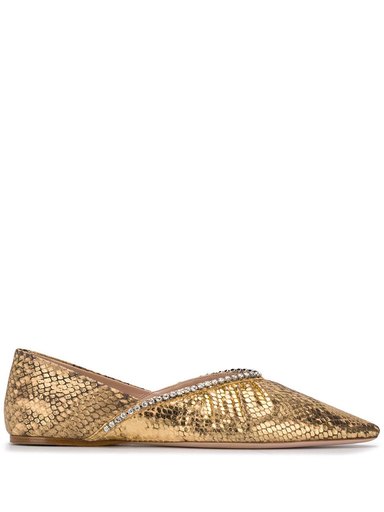MIU MIU mock crock crystal ballerina shoes
