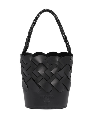 PRADA large woven motif bucket bag