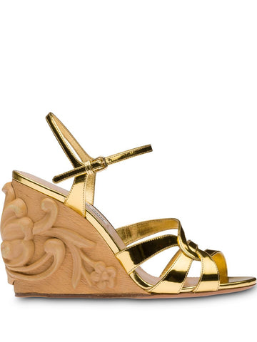 MIU MIU 95mm carved wooden wedge sandals
