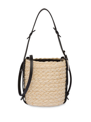 MIU MIU straw logo-patch bucket bag