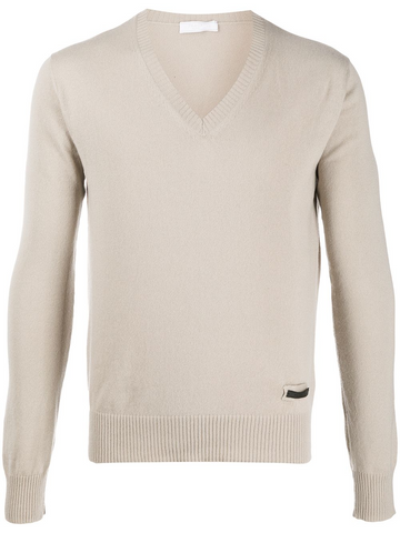PRADA logo patch V-neck jumper