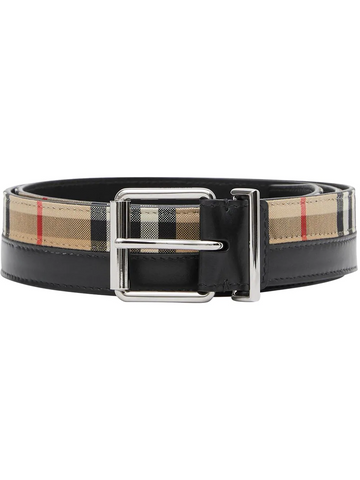 BURBERRY logo print vintage check and leather belt