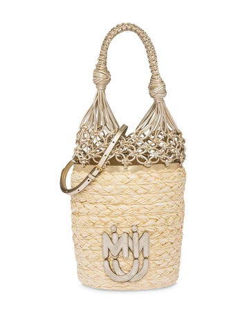 MIU MIU  straw mesh bucket bag