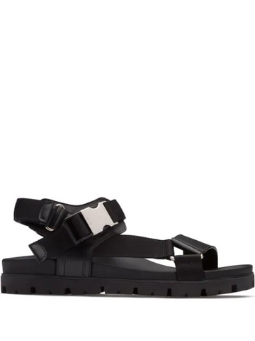 PRADA leather and woven tape sandals