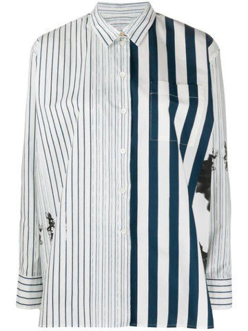PAUL SMITH contrast striped oversized shirt