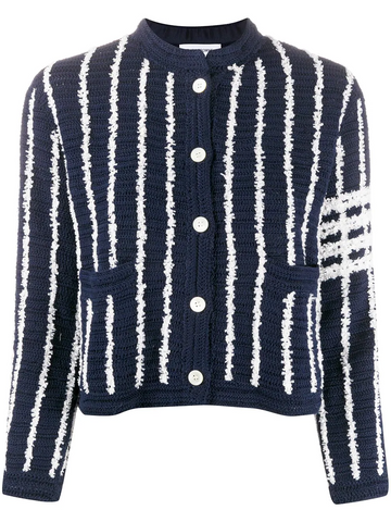 THOM BROWNE cropped striped cardigan