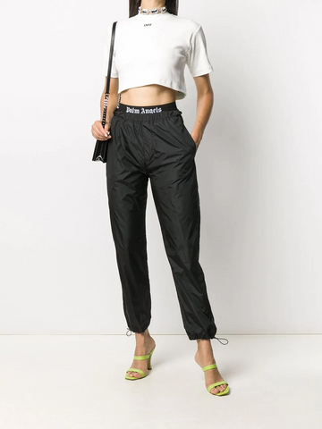 OFF-WHITE RIB CROPPED CASUAL TEE WHITE BLACK