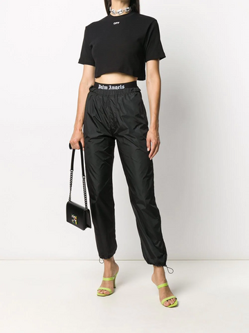 OFF-WHITE RIB CROPPED CASUAL TEE BLACK WHITE