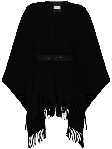 MONCLER belted-waist wool poncho