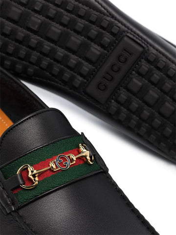 GUCCI Black leather driving loafers