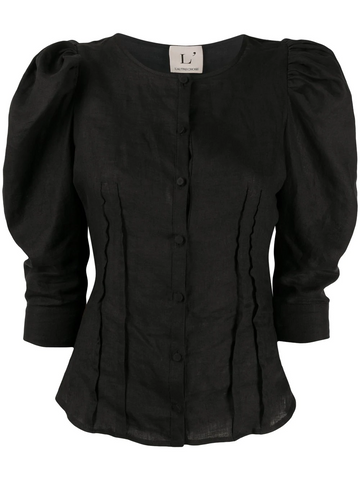 L'AUTRE CHOSE puff-sleeves buttoned blouse