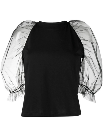 MSGM tulle cold shoulder T-shirt