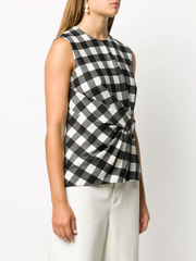 MSGM pleated-front checked top