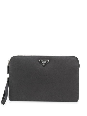 PRADA triangle logo clutch