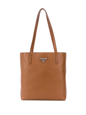PRADA logo-plaque Saffiano leather tote