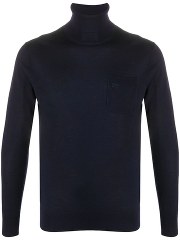 DSQUARED2 logo embroidered roll neck jumper