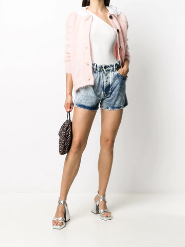 MIU MIU acid wash denim shorts