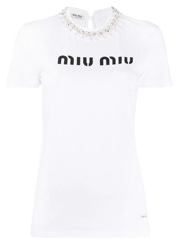 MIU MIU crystal and pearl embellished T-shirt