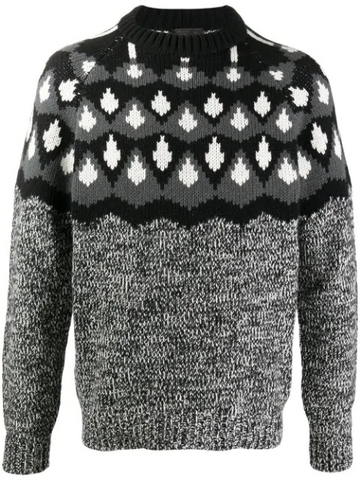 PRADA geometric panel knitted jumper