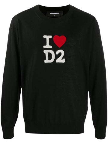 Dsquared2 logo intarsia knitted jumper