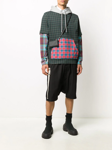 BURBERRY check panelled hoodie