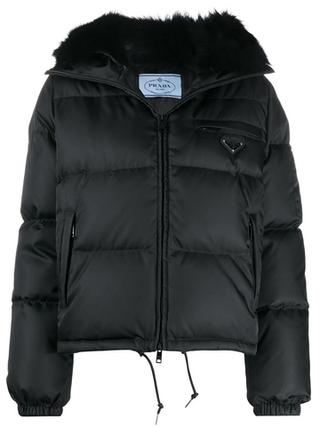 PRADA logo plaque quilted puffer jacket