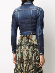 DSQUARED2 cropped embroidered denim jacket