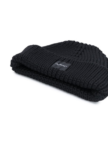 OFF-WHITE logo patch ribbed beanie