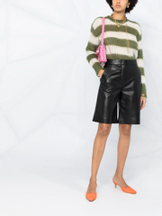 MSGM faux leather knee-length shorts