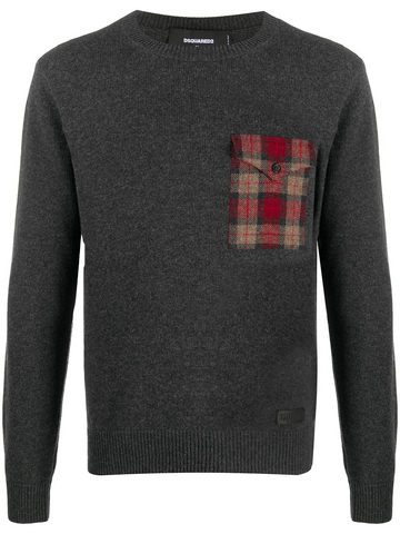 DSQUARED2 checkered chest pocket jumper