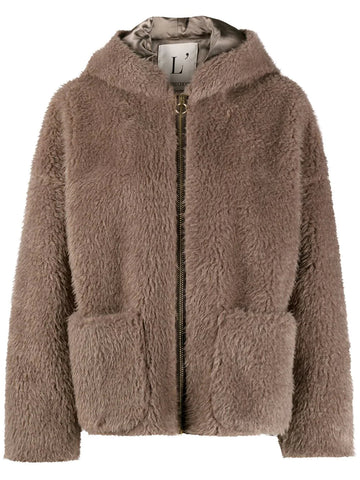 L'AUTRE CHOSE hooded shearling jacket