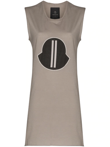 RICK OWENS by MONCLER oversized logo patch tank top