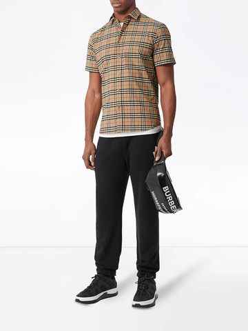 BURBERRY check print short-sleeve shirt