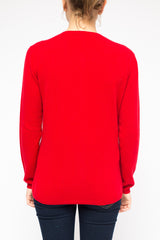 LA Rose cardigan cashmere red