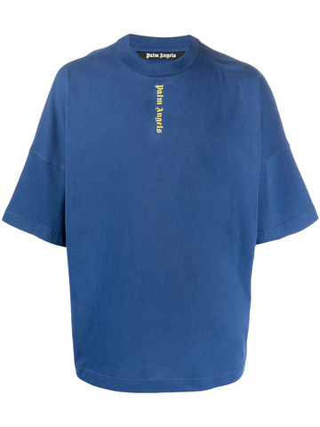 PALM ANGELS NS LOGO OVER TEE NAVY BLUE YELLOW
