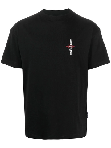 PALM ANGELS STATEMENT LOGO TEE BLACK WHITE