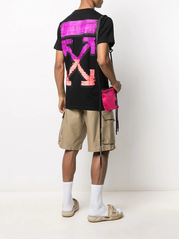 OFF WHITE MARKER S/S SLIM TEE BLACK FUCHSIA