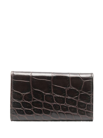 PRADA logo-plaque crocodile-effect wallet