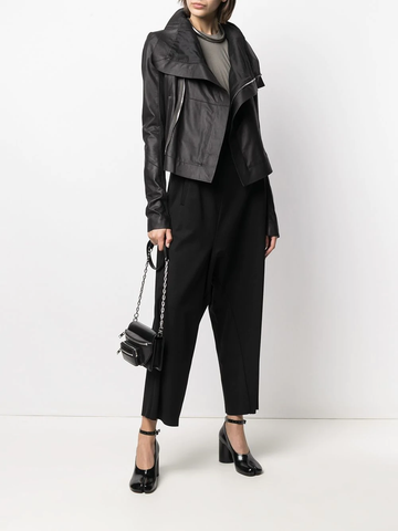 RICK OWENS zip-up cropped leather jacket