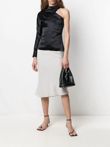 RICK OWENS ribbed-panel silk skirt