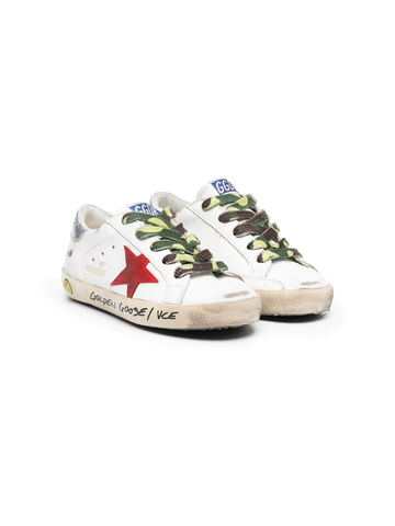 GOLDEN GOOSE KIDS Superstar distressed-finish sneakers