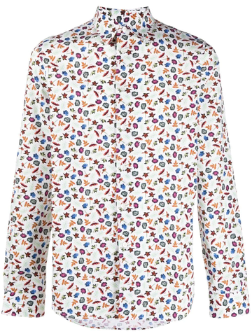 PAUL SMITH floral-print slim-cut shirt