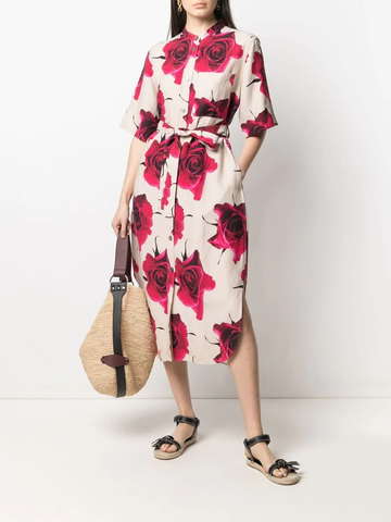PAUL SMITH floral-print midi shirt dress