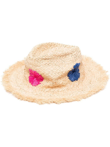 PAUL SMITH floral-embroidery straw hat