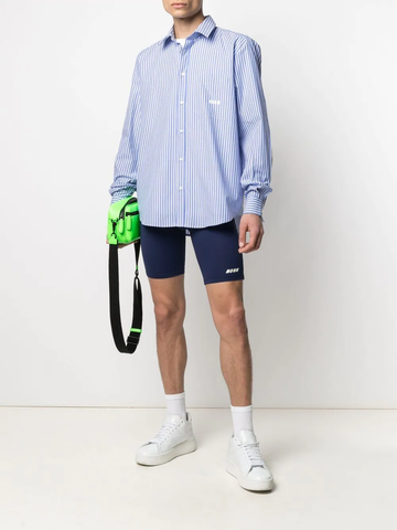 MSGM logo-embroidered stripe shirt