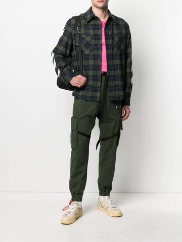 OFF WHITE Diag-stripe flannel shirt