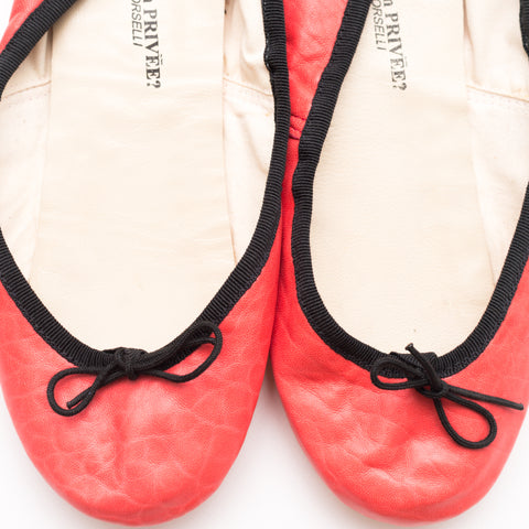 PORSELLI COLLECTION PRIVE' coral lamb leather classic ballerina