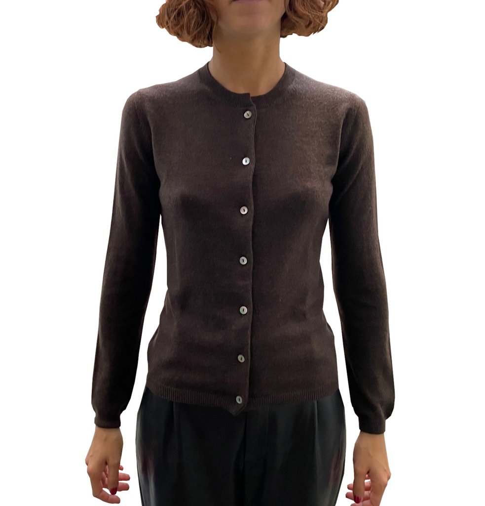 LA ROSE cardigan dark brown