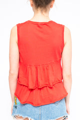 PAROSH Top cotton red sleeveless